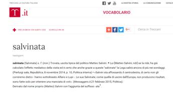 Matteo Salvini finisce sulla Treccani per la