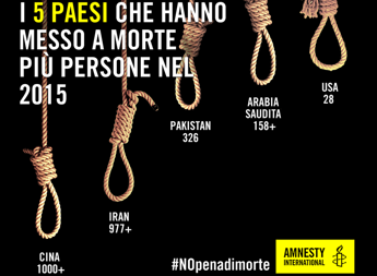 Amnesty International sulla pena di morte: record di esecuzioni nel 2015