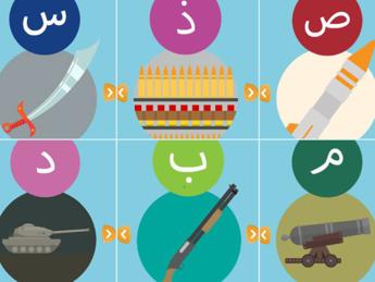 Is lancia una app per bambini, fucili e cannoni per imparare l'alfabeto