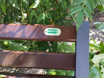 New benches outside Mussolini's Rome HQ labelled 'Benito'