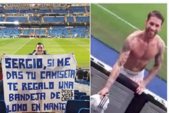 Sergio Ramos al tifoso: Ecco la maglia, dammi la lonza /Video