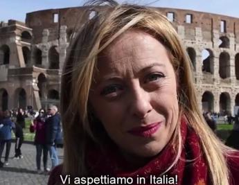 Coronavirus, video Meloni in inglese: Turisti, venite in Italia
